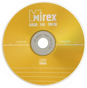 Mirex CD-R 700Mb 24x Slim-коробка *GOLD*