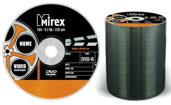 диск Mirex DVD-R 4.7 Gb 16x bulk 100 *Video коллекция*